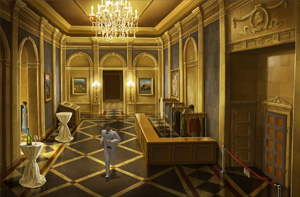 lost horizon - vestibule to the reception in the museum
