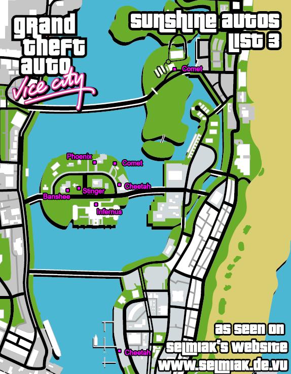 GTA Vice City Klaue die Autos Liste 3 (Sunshine Autos