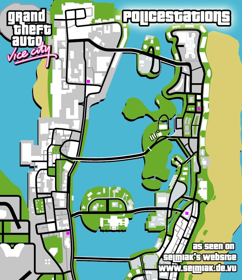 GTA Vice City Vigilante R3 Missions Police catch criminals Map