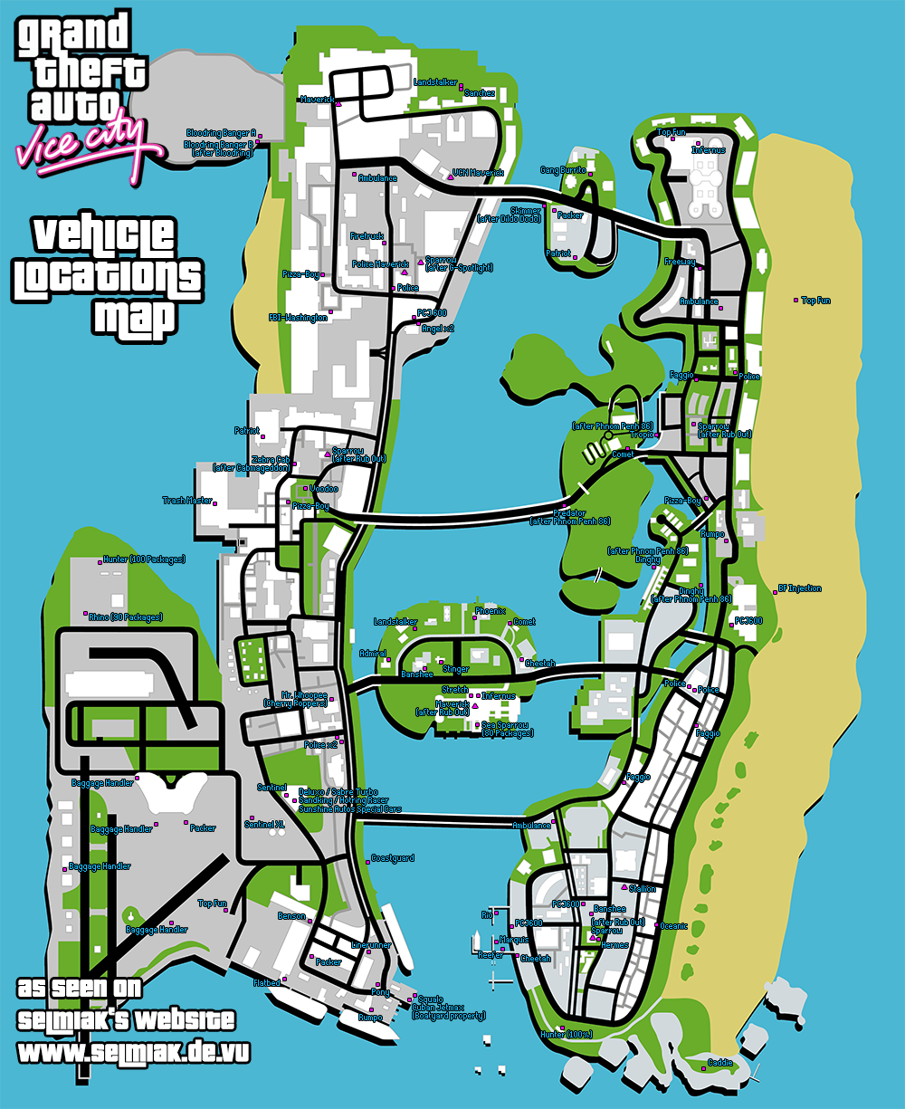 GTA Vice City Vehicle Locations Car List (Maps) Cars Boats
