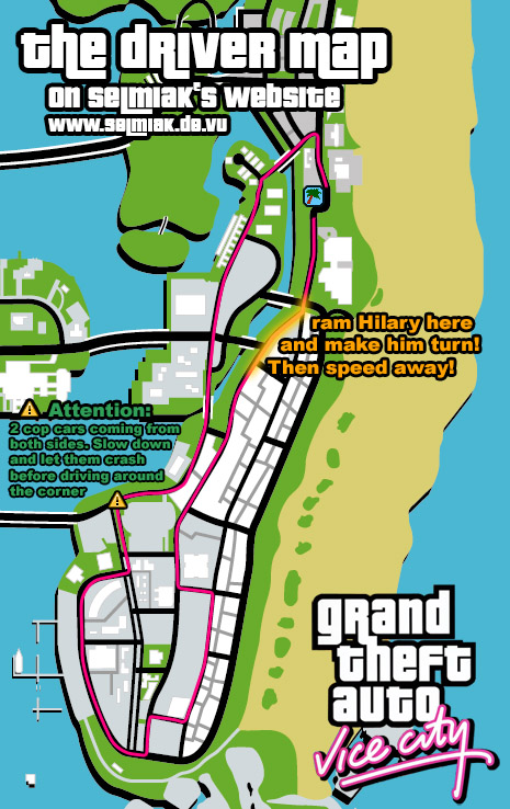 GTA Vice City The Driver (Malibu Club) with Roadmap+Hints! defeat