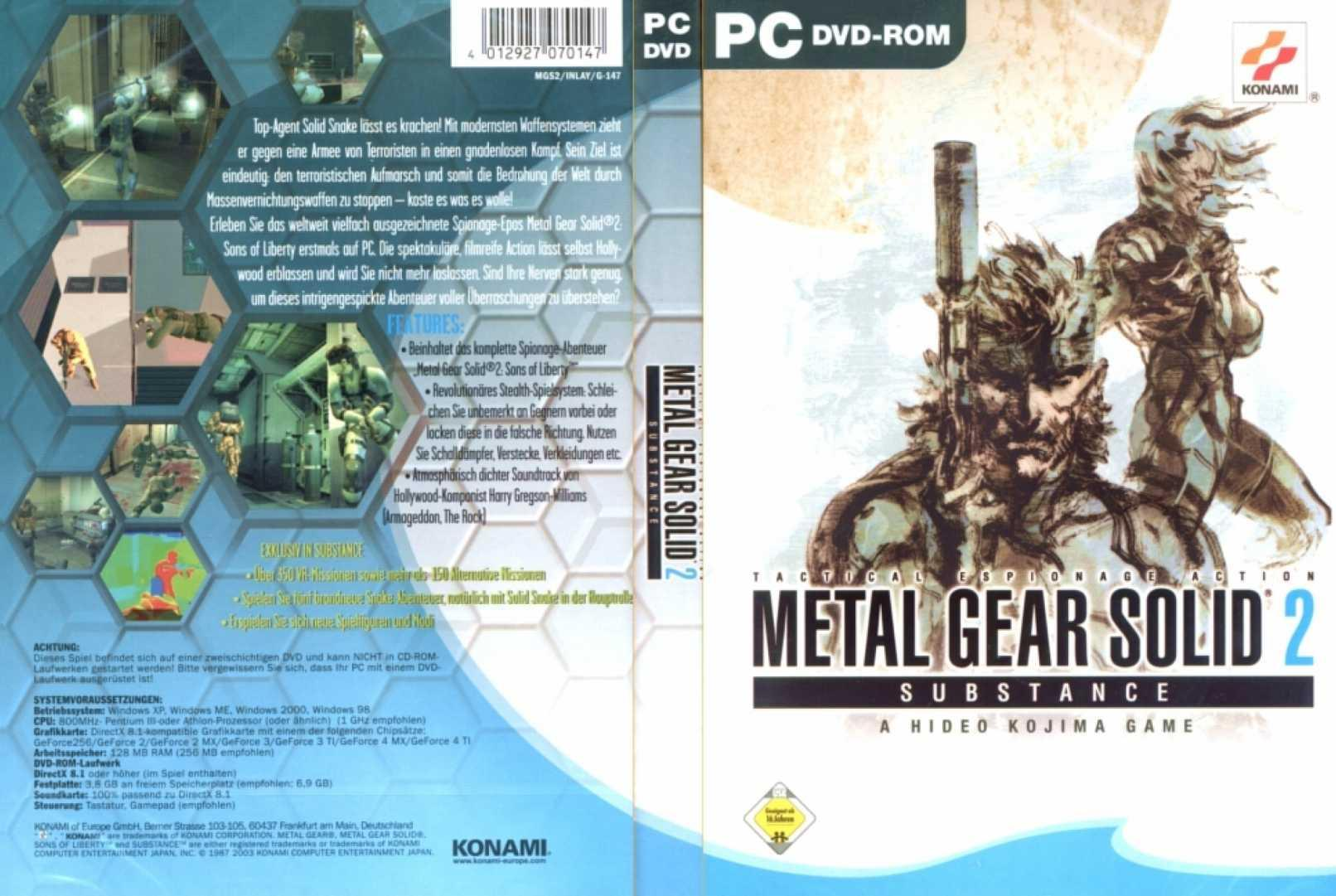 Metal Gear Solid 2 Covers MGS2 (PS2/Playstation 2/PS3