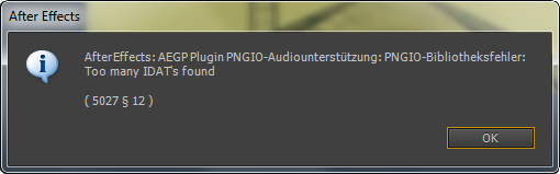 After Effects PNGIO Fehlermeldung