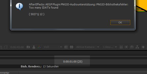 After Effects PNGIO Fehlermeldung und Fehlersuche